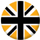 Great Britain Black and Gold Flag 25mm Flat Back